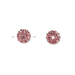 bead, glass rhinestone / epoxy / resin, dark pink, 8mm round. sold individually.