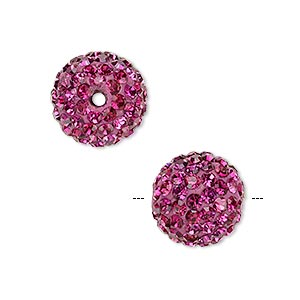 bead, glass rhinestone / epoxy / resin, fuchsia, 14mm round. sold individually.