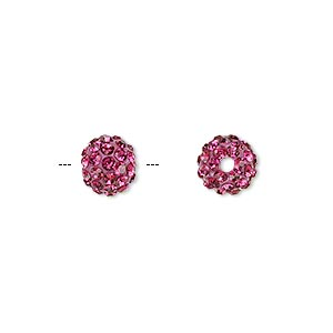 bead, glass rhinestone / epoxy / resin, fuchsia, 8mm round. sold individually.