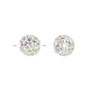 bead, glass rhinestone / epoxy / resin, white and clear ab, 10mm round. sold individually.