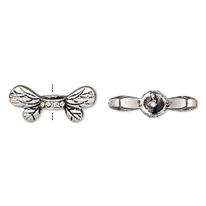 bead, glass rhinestone and antique silver-finished pewter (zinc-based alloy), clear, 22x9.5mm bee wings. sold per pkg of 2.