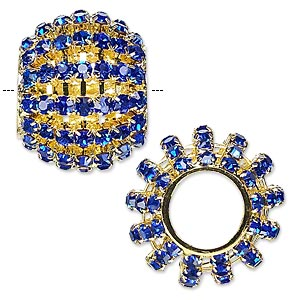 bead, glass rhinestone and gold-finished brass, cobalt, 25x20mm barrel, 11.5mm hole. sold individually.