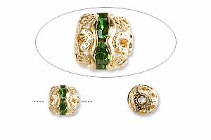 bead, glass rhinestone and gold-finished brass, peridot green, 6mm banded round. sold per pkg of 10.