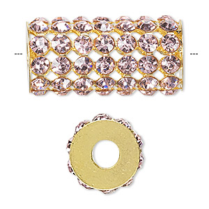 bead, glass rhinestone and gold-finished brass, pink, 32x15mm cylinder with 4mm chatons, 5.75mm hole. sold individually.
