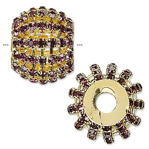 bead, glass rhinestone and gold-finished brass, purple, 25x20mm barrel with 3mm chatons, 6.5mm hole. sold individually.