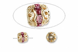 bead, glass rhinestone and gold-finished brass, rose, 6mm banded round. sold per pkg of 10.