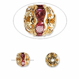 bead, glass rhinestone and gold-finished brass, rose, 8mm banded round. sold per pkg of 10.