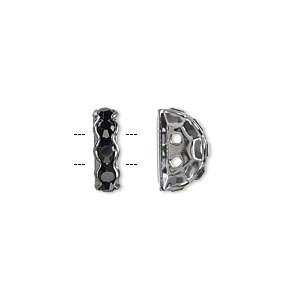 bead, glass rhinestone and gunmetal-plated brass, black, 12x7mm 2-strand half-round bridge spacer. sold per pkg of 10.