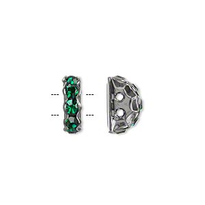 bead, glass rhinestone and gunmetal-plated brass, emerald green, 12x7mm 2-strand half-round bridge spacer. sold per pkg of 10.