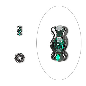 bead, glass rhinestone and gunmetal-plated brass, emerald green, 5x3mm rondelle. sold per pkg of 10.