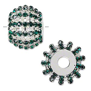 bead, glass rhinestone and silver-finished brass, emerald green, 25x20mm barrel with 3mm chatons, 6.5mm hole. sold individually.