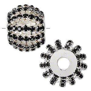 bead, glass rhinestone and silver-plated brass, black, 25x20mm barrel with 3mm chatons, 6.5mm hole. sold individually.