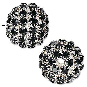 bead, glass rhinestone and silver-plated brass, black, 27mm ball with 5mm chatons, 4.5mm hole. sold individually.
