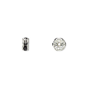 bead, glass rhinestone and silver-plated brass, black, 5x2mm rondelle. sold per pkg of 10.