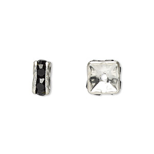 bead, glass rhinestone and silver-plated brass, black, 8x4mm squaredelle. sold per pkg of 10.