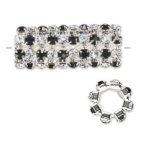bead, glass rhinestone and silver-plated brass, black and clear, 32x13mm cylinder with 3mm chatons, 7.5mm hole. sold individually.