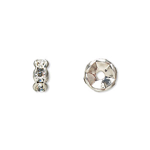 bead, glass rhinestone and silver-plated brass, clear, 8x4mm rondelle. sold per pkg of 10.