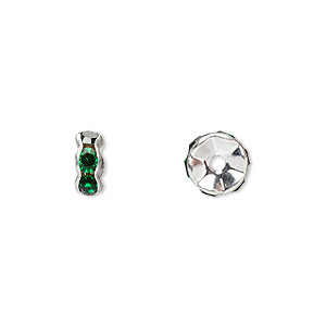 bead, glass rhinestone and silver-plated brass, emerald green, 7x3mm rondelle. sold per pkg of 10.