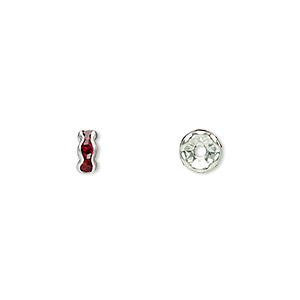 bead, glass rhinestone and silver-plated brass, garnet red, 5x2mm rondelle. sold per pkg of 10.