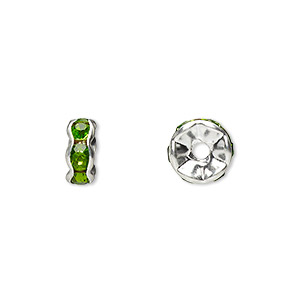 bead, glass rhinestone and silver-plated brass, peridot green, 8x4mm rondelle. sold per pkg of 10.