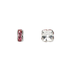 bead, glass rhinestone and silver-plated brass, rose, 6x3mm squaredelle. sold per pkg of 10.