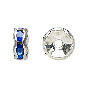 bead, glass rhinestone and silver-plated brass, sapphire blue, 8x4mm rondelle. sold per pkg of 10.