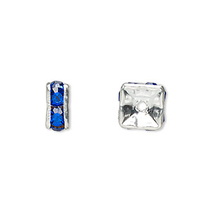 bead, glass rhinestone and silver-plated brass, sapphire blue, 8x4mm squaredelle. sold per pkg of 10.
