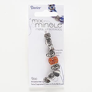 bead, glass rhinestone with silver- and antiqued silver-finished pewter (zinc-based alloy), orange, 9x7mm-14x11mm assorted shape with 4.5-5mm hole. sold per pkg of 9.