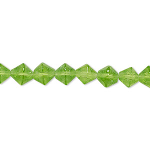 bead, glass, spring green, 6-7mm faceted bicone. sold per 12-inch strand.