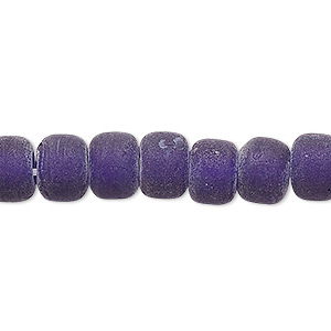 bead, glass, translucent matte cobalt, 9x7mm crow. sold per 24-inch strand.