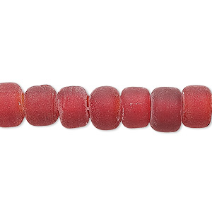 bead, glass, translucent matte red, 9x7mm crow. sold per 24-inch strand.