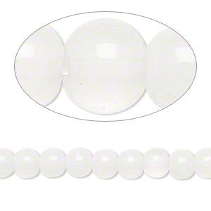 bead, glass, translucent white, 5-6mm round. sold per pkg of (2) 10-inch strands.
