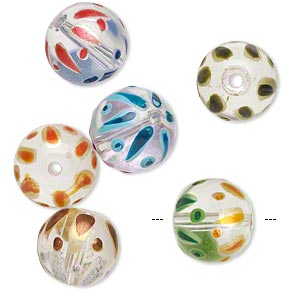 bead, glass, transparent clear and multicolored, 11-12mm hand-painted round. sold per pkg of 6.