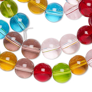 bead, glass, transparent jewel tones, 9-10mm round. sold per 36-inch strand.