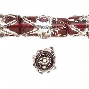 bead, glass, transparent red with silver- and gold-colored foil, 22x11mm round tube. sold per pkg of 12.