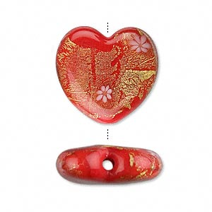 bead, glass with 24kt gold foil, red, 21x19mm heart. sold per pkg of 2.