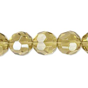 bead, glass, yellow-green luster, 11-12mm faceted round. sold per 12-inch strand.