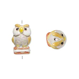 bead, glazed ceramic, multicolored, 15x8mm hand-painted owl. sold per pkg of 2.