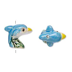 bead, glazed ceramic, multicolored, 17x15mm hand-painted dolphin. sold per pkg of 2.