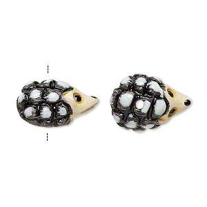 bead, glazed ceramic, multicolored, 18x13mm hand-painted hedgehog. sold per pkg of 2.