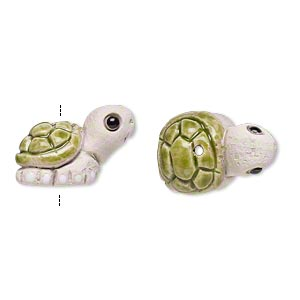 bead, glazed ceramic, multicolored, 19x12mm hand-painted turtle. sold per pkg of 2.