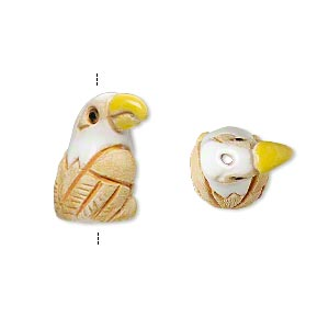 bead, glazed ceramic, multicolored, 20x11mm hand-painted bald eagle. sold per pkg of 2.