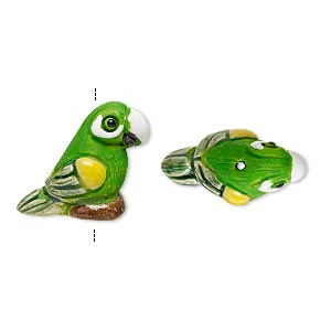 bead, glazed ceramic, multicolored, 20x14mm hand-painted parrot. sold per pkg of 2.