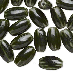 bead, glazed porcelain, dark green, 18x10mm wavy flat oval with 1.5-2mm hole. sold per pkg of 20.