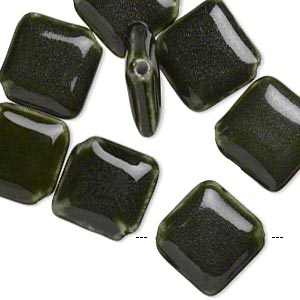 bead, glazed porcelain, dark green, 28x26mm puffed diamond with 2.5-3mm hole. sold per pkg of 8.