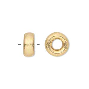 bead, gold-finished brass, 12x6mm brushed rondelle with 4mm hole. sold per pkg of 4.