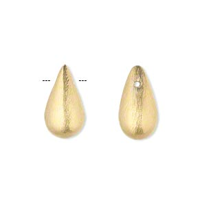 bead, gold-finished brass, 16x9mm top-drilled brushed teardrop. sold per pkg of 4.
