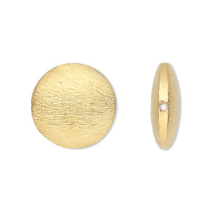 bead, gold-finished brass, 18x6mm brushed puffed flat round. sold per pkg of 2.