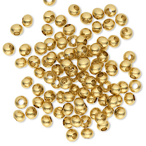 bead, gold-finished brass, 4x2.5mm rondelle. sold per pkg of 100.