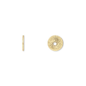 bead, gold-finished brass, 8x1mm brushed heishi. sold per pkg of 20.